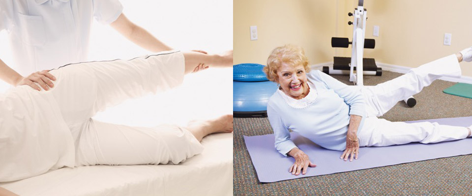 Physiotherapist Helps a Client Stretch | Elderly Woman Practices Physiotherapy Exercises