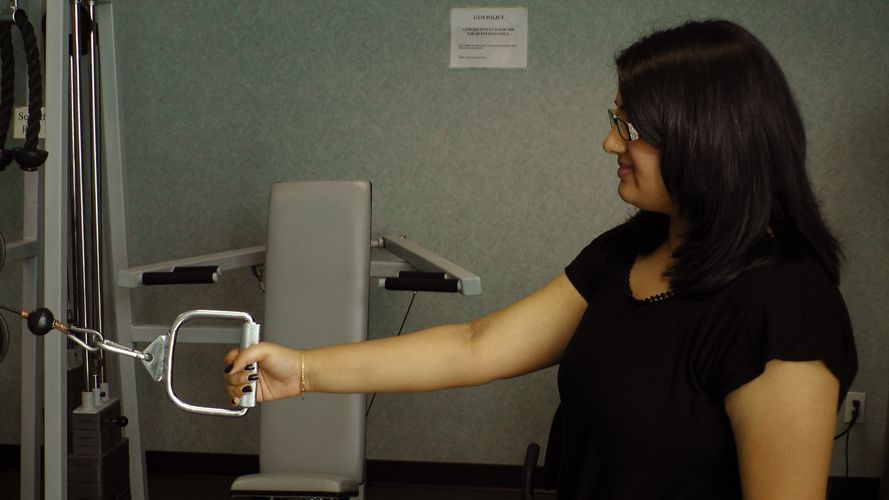Patient Completing Hand Exercises